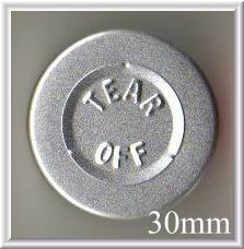30mm center tear off vial seal silver